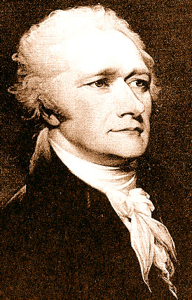 A gilded picture of Alexander Hamilton